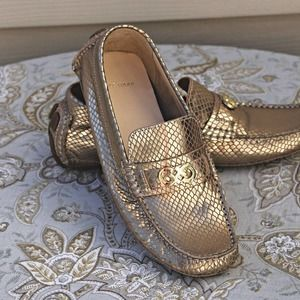 NEW Cole Haan Gold Snake Print Charm Flat Drivers